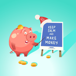 Keep Calm And Make Money Pig Sticker