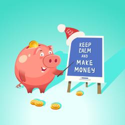Keep Calm And Make Money Pig Sticker