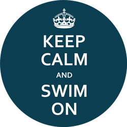 Keep Calm And Swim On Blue Poster With Crown Sticker