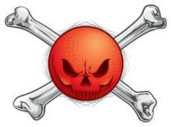 Kickball Or Dodgeball Skull Face With Crossbones Sticker