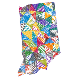 Kid Style Map Of Indiana Sticker