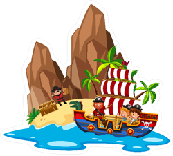 Kids Sailing On Pirate Ship Illustration Sticker
