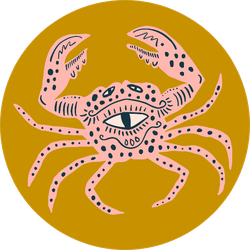 King Crab Vintage Patterned Illustration Sticker