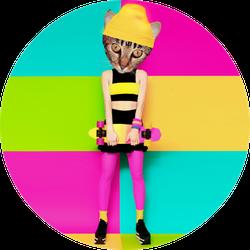 Kitty Skater Sticker