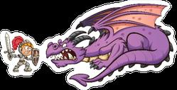 Knight Fighting A Dragon Cartoon Scene Sticker