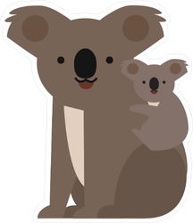 Koala and Baby Flat Icon Sticker