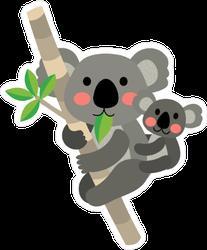 Koala Bear and Baby Climbing Tree Sticker