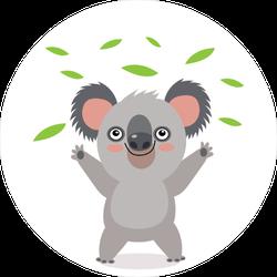 Koala Bear Throwing Leaves Sticker