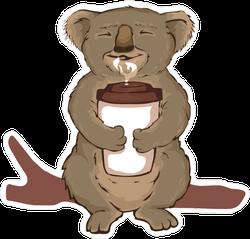 Koala Enjoying Coffee Sticker