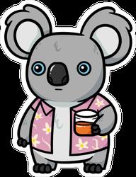 Koala With Drink and Hawaiian Shirt Sticker