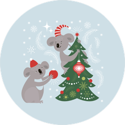 Koalas Decorating Christmas Tree Sticker