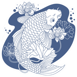 Koi Carp In Pond Sticker