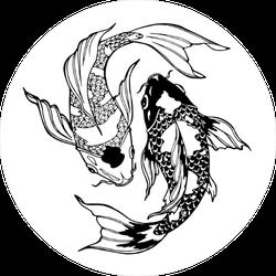 Koi Carp Yin Yang Circle Sticker