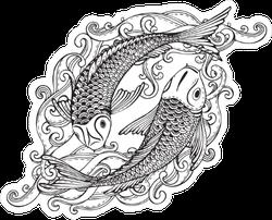 Koi Fish Swimming Together Sticker