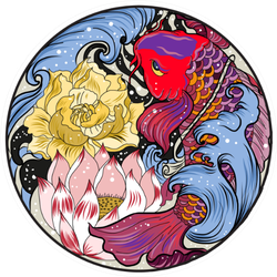 Koi Fish With Lotus And Peony Flower In Circle Sticker