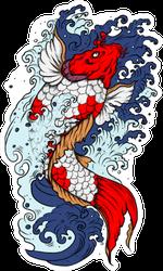 Koi Fish With Water Splash Sticker