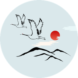 Korean Traditional Illustration Red-crowned Crane And Sun Sticker