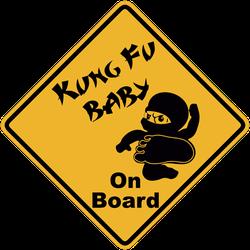 Kung Fu Baby On Board Sticker