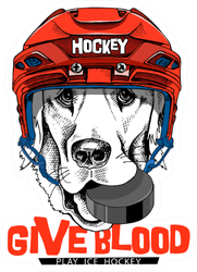 Labrador Dog In A Red Ice Hockey Helmet Sticker