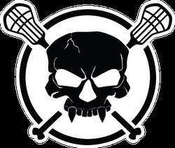 Lacrosse Black Skull Circle Stick Sticker