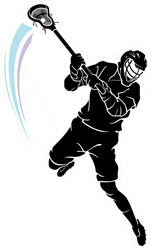 Lacrosse Leaping Player Sticker