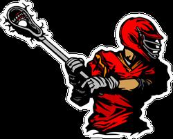 Lacrosse Player Cradling Ball Illustration Red Sticker