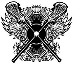 Lacrosse Sticks With Ornate Wing Borders Sticker