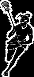 Lacrosse Woman Player Front Sticker
