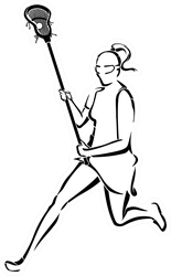 Lacrosse Woman Running Line Art Sticker