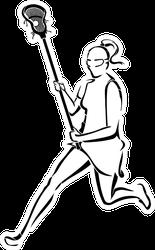 Lacrosse Woman Running Line Art Sticker