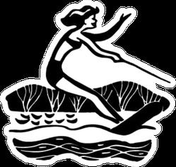Lady Water Skiing - Retro Illustration Sticker