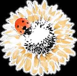 Ladybug On Sunflower Watercolor Sticker