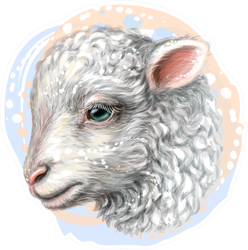 Lamb Artistic Color Portrait Sticker