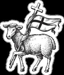 Lamb With Cross Sticker