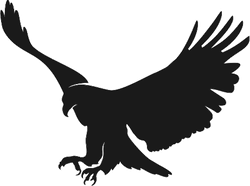 Landing Bald Eagle Silhouette Sticker