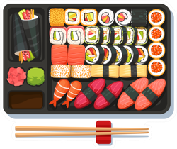 Large Sushi Tray With Chopsticks Sticker