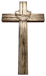 Large Wooden Cross With Crown Of Thorns Sticker