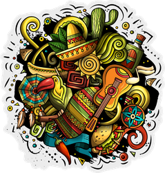 Latin American Music Doodles Sticker