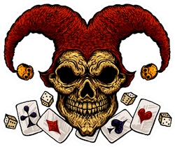 Laughing Angry Joker Skull With Playing Cards Illustration Sticker
