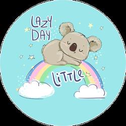 Lazy Day Koala on Rainbow Sticker