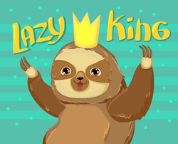 Lazy King Sloth Sticker