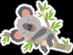 Lazy Koala Sleeping On A Branch Sticker