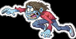 Leaping Cartoon Zombie Girl Sticker