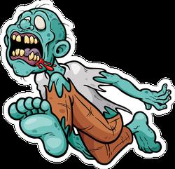 Leaping Cartoon Zombie Sticker