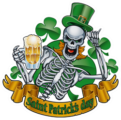 Leprechaun Skeleton With Beer Sticker