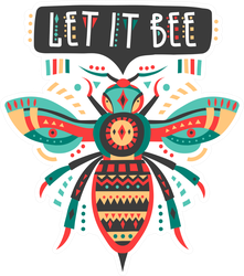 Let It Bee Colorful Patterned Bee Sticker