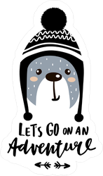 Let's Go On An Adventure Bear Sticker