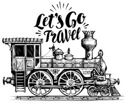 Let's Go Travel Train Sketch Sticker