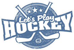 Let's Play Hockey Sport Stamp In Blue Sticker