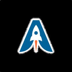 Letter A Rocket Logo Space Sticker
